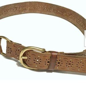 Lucky Brand Womens M Leather Belt Brown Brass